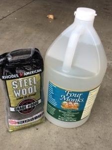 Steel wool and vinegar wood stain