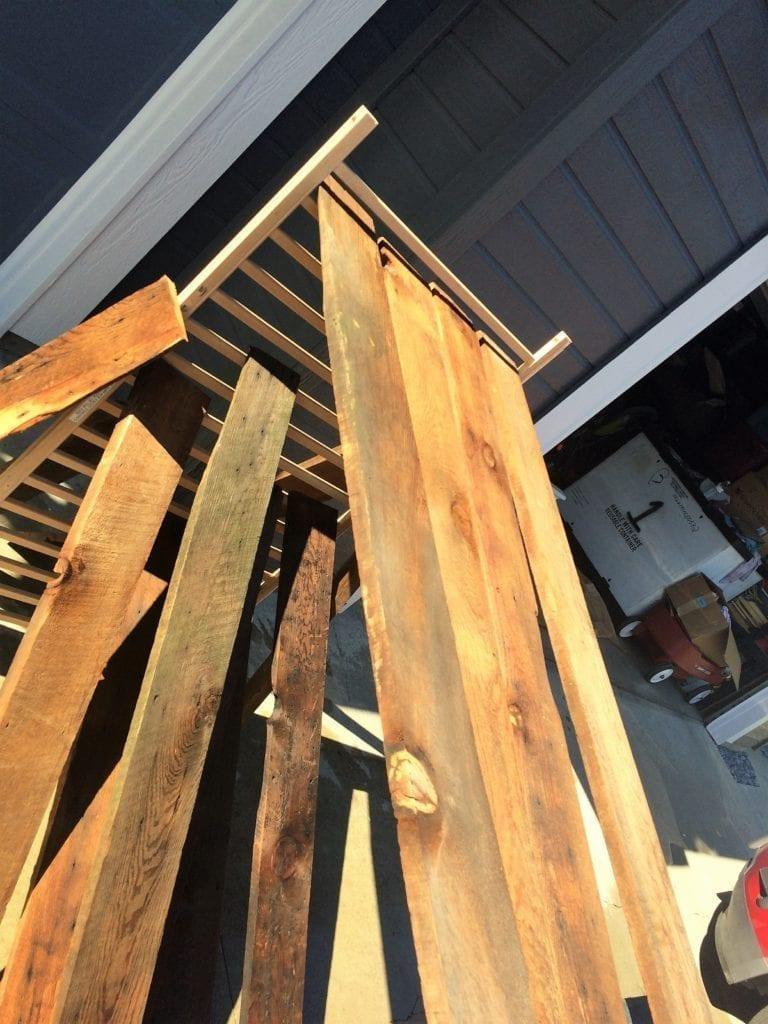 drying barn wood after washing using a crib rail
