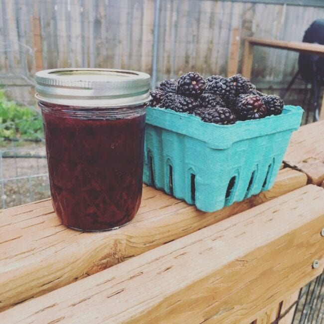 Blackberry Jam in a jelly jar with fresh berries sitting next to it on the garden fence rail.