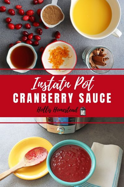 Instant Pot Cranberry Sauce Recipe, Ingredients and completed sauce.