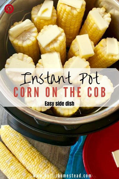 Instant Pot Corn on the Cob standing on end with butter. Two ears of corn and butter on a red plate with butter next to the instant pot