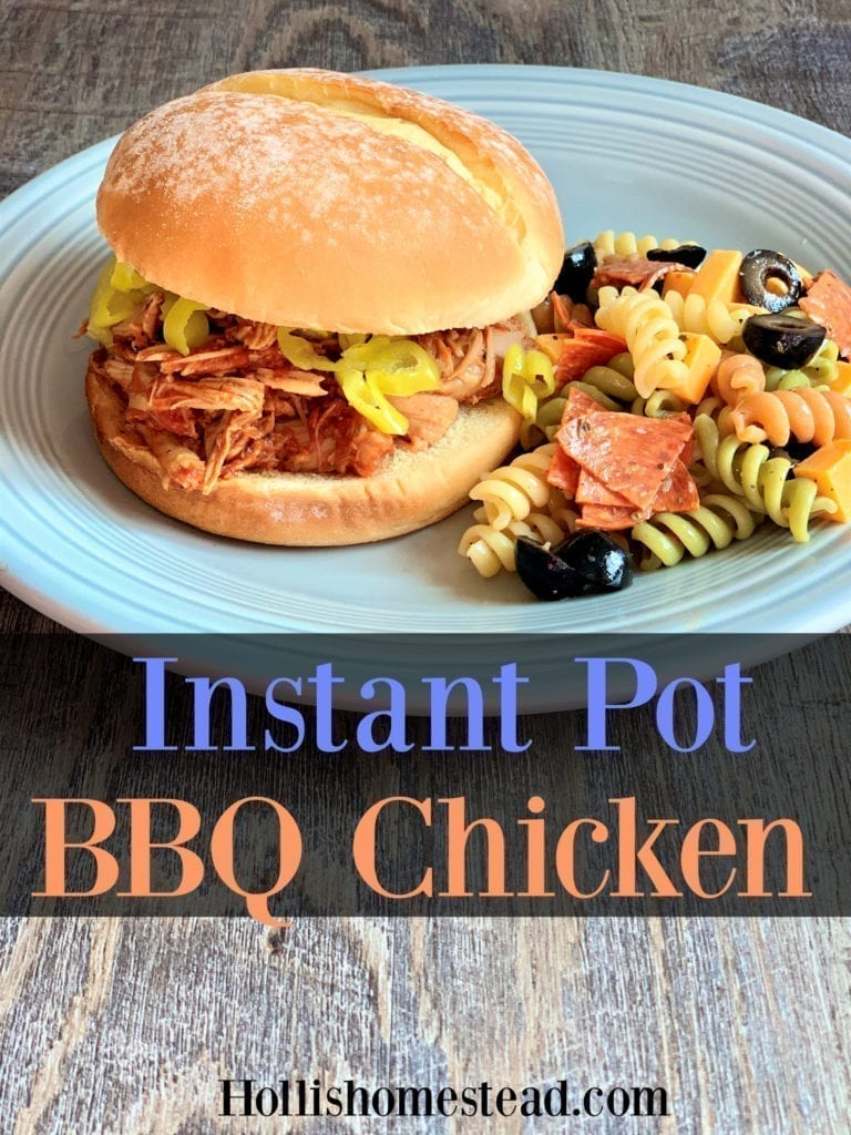 Instant Pot BBQ Chicken sandwich recipe on a grey plate with pasta salad on the side