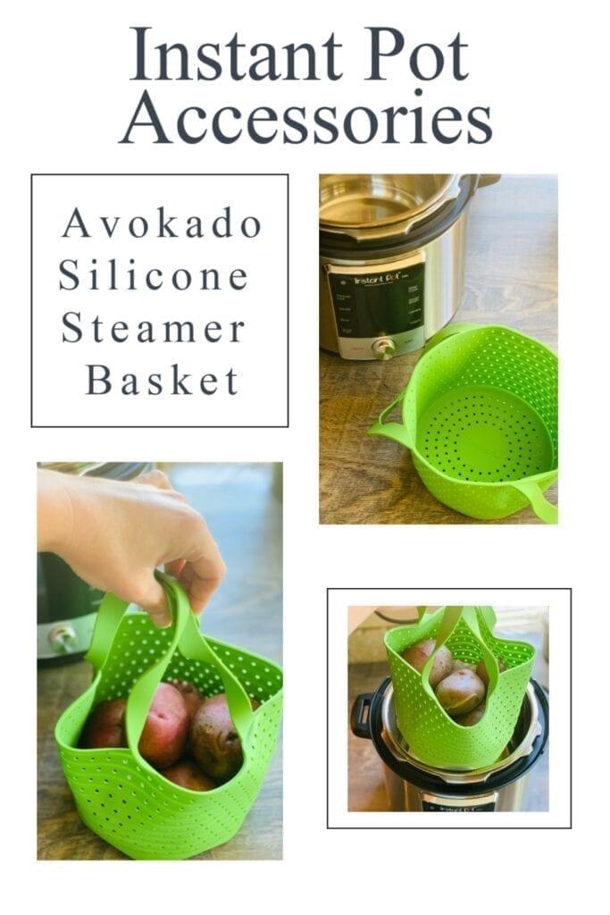 6 quart instant pot with green avokado silicone steamer basket. Red potatoes inside steamer basket.