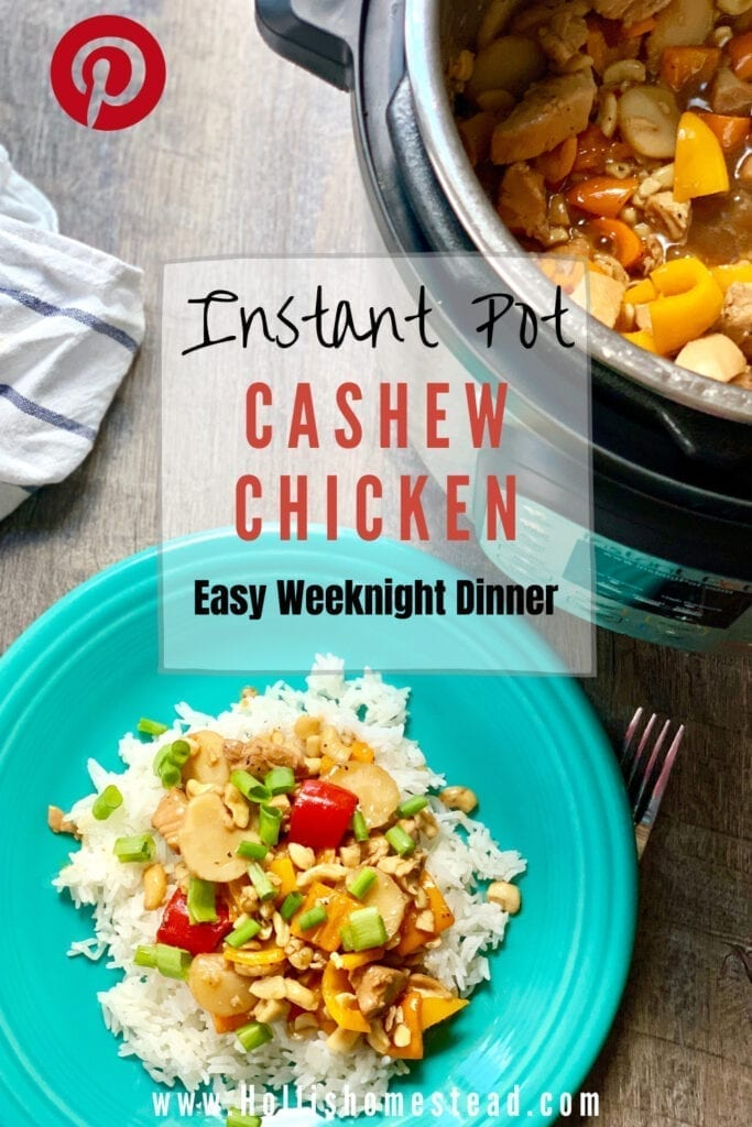 Instant Pot Cashew Chicken Recipe on a teal plate with Instant Pot, fork and white towel on the side.