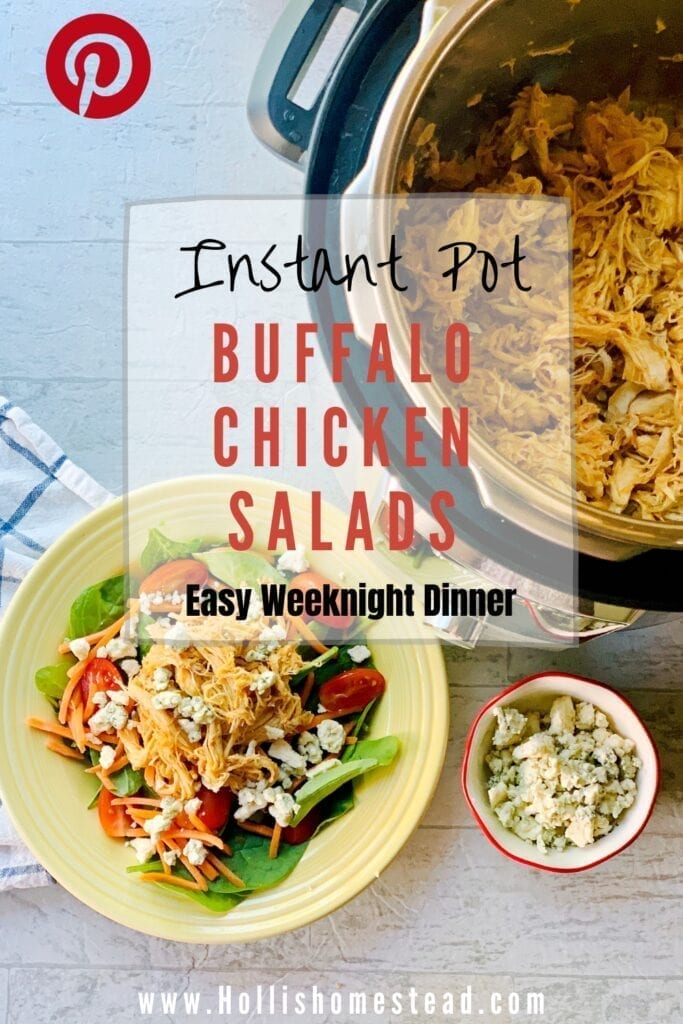 Buffalo chicken salad in a yellow bowl with a fork and blue cheese crumbles, next to the instant pot and a blue and white towel on the side.
