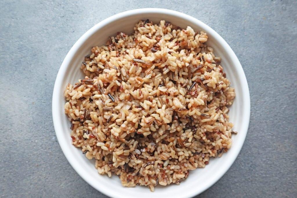 Instant Pot Ancient Grain blend Rice in a white bowl
