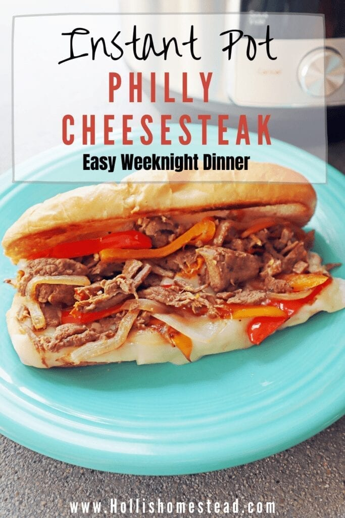 Philly cheesesteak Instant Pot recipe with bell peppers, onion,, steak, provolone cheese on a teal plate.