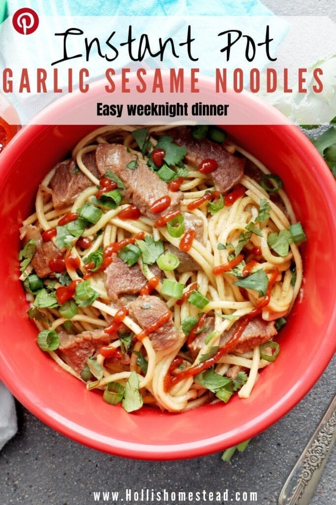 Garlic Sesame Noodles with Steak recipe in a red bowl with Siracha hot sauce, cilantro and fork
