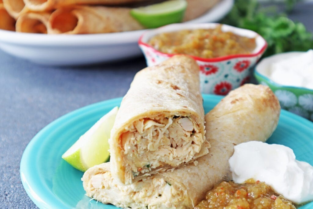 Frigidaire Air Fry Range Chicken Flautas with Freezer instructions with salsa on a blue plate