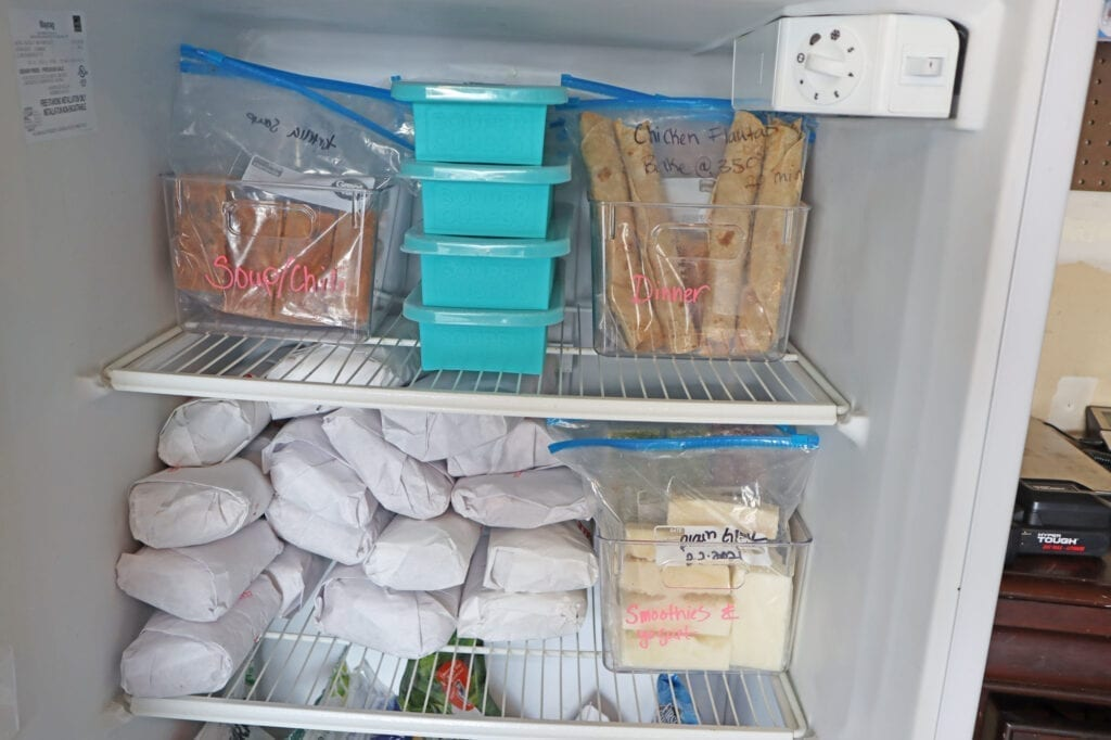 souper cubes in the upright freezer