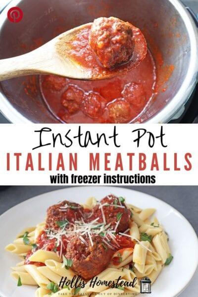 banza chickpea pasta with Italian meatballs and marinara Pinterest Pin