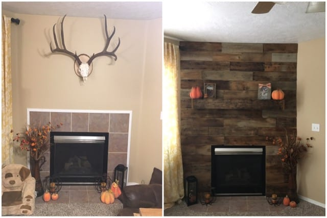 barn wood wall before and after