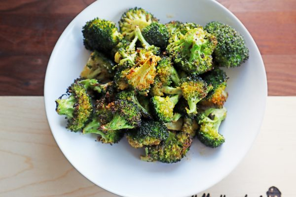 Air Fried broccoli in a white bowl