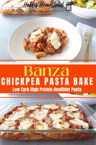 Banza Chickpea Pasta Bake in a glass 13x9 baking pan